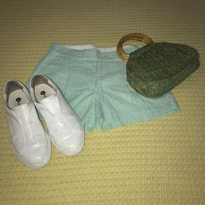 J. Crew Green/White Seersucker Shorts Sz 00